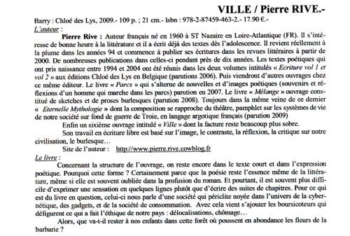 PIERRE RIVE extrait livre Ville