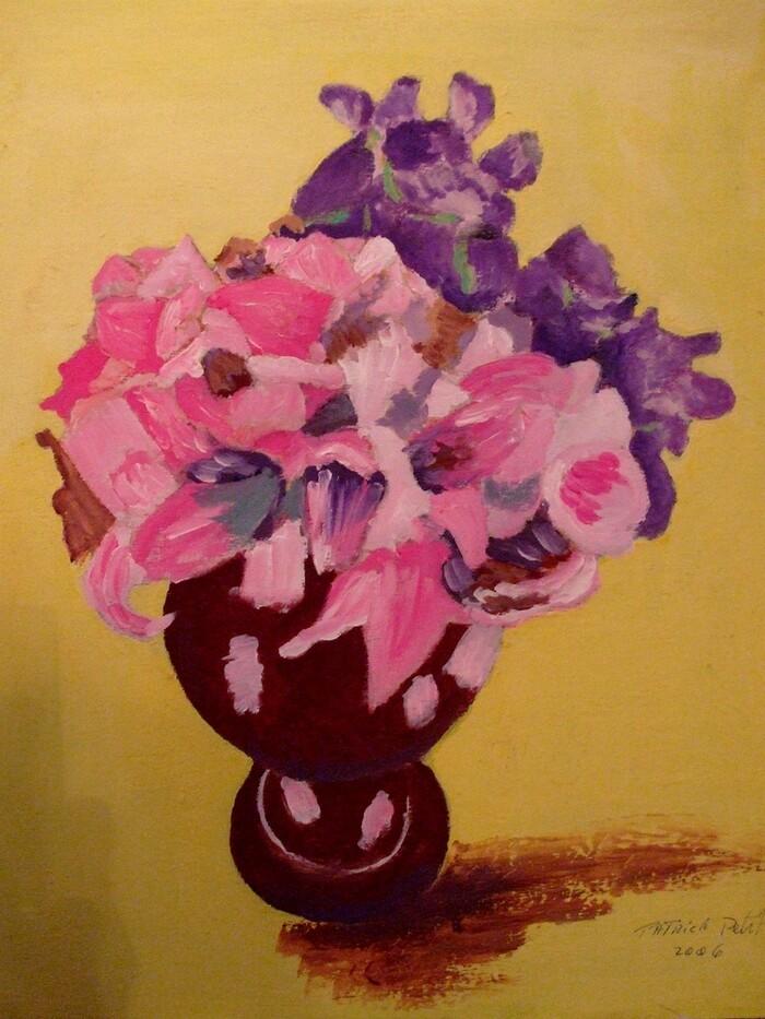 Fleurs dans un vase (gouache)