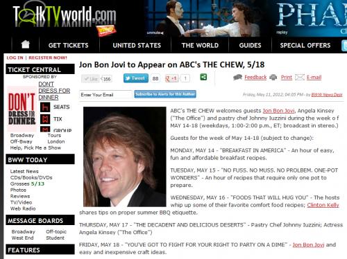 jon bon jovi sur le chaîne ABC's ce soir le 18 Mai 2012
