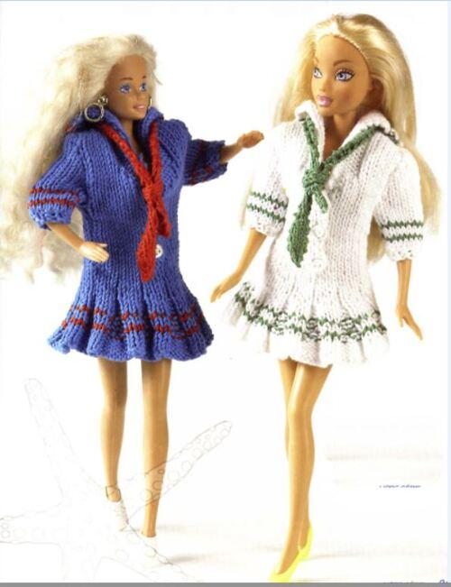 Emilie..Barbie robe marinière tricotée