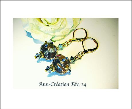 Boucles Dormeuses Perles de Verre Lamwork Bleu et Or / Plaqué Or Gold Filled -2