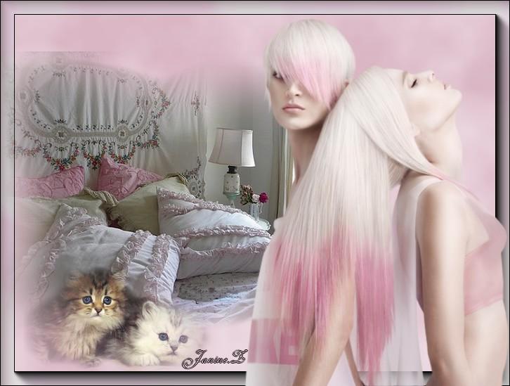 femmes aux cheveux rose