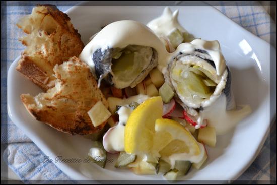 Rollmops méli-mélo de pomme radis et sa crème citronnée