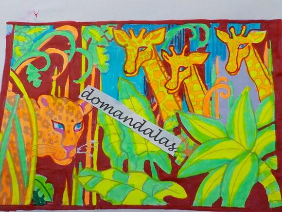 DOMANDALAS  guépard et girafes dans savane