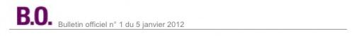 Programmations BO 5 janvier 2012