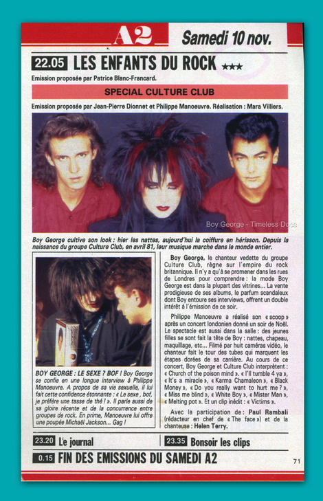 CULTURE CLUB - 1984 - Les Enfants Du Rock 10 Nov '84 French TV