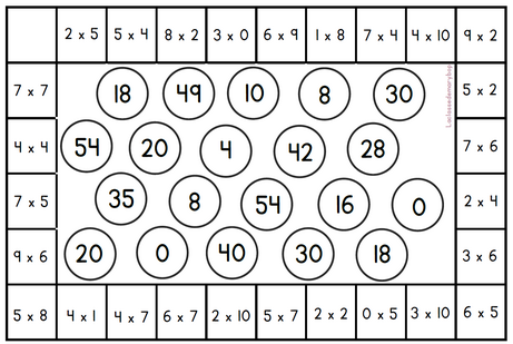 Mini-bingo - Jeu multiplications