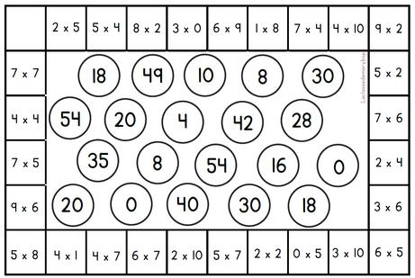 Mini-bingo - Jeu multiplications