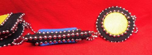 Sautoir cousu main en tissus avec sa chaîne à billes