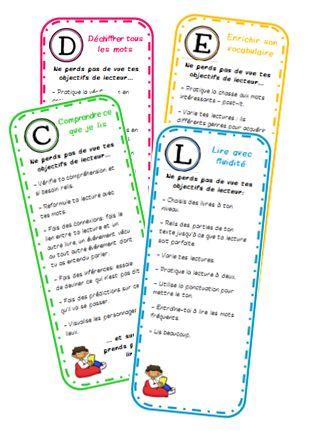 Des marque-pages pour rappeler les objectifs de lecteur