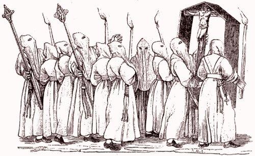 La procession des Pénitents blancs D'après une gravure satirique de 1583