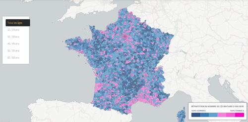 Carte de France des célibataires