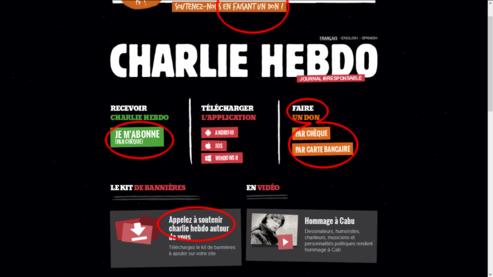 Don en chèque, en espèce, en carte bancaire, en virement : Charlie hebdo, devenu l'incarnation du charlatanisme libéral bien-pensant.
