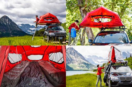 Une tente sur le toit