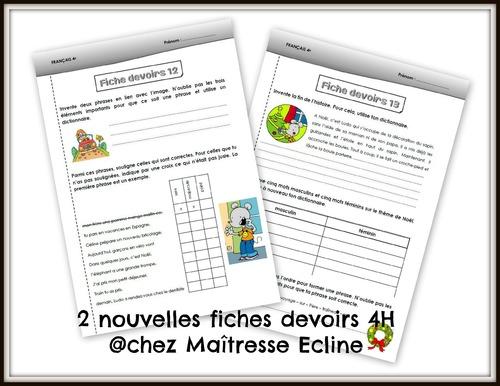 Nouvelles fiches devoirs français 4e Harmos