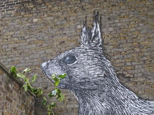 Londres street-art Hackney bestiaire écureuil Roa 6