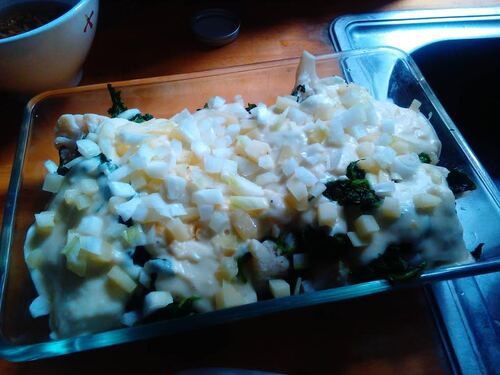 Gratin de choux fleur et épinard au fromage de brebis
