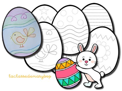 Oeufs de Pâques à tracer et à colorier