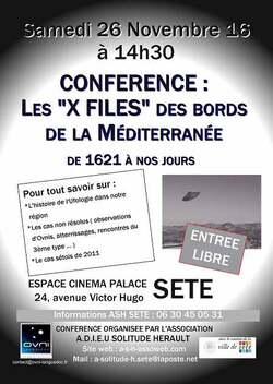 Le 26 novembre, conférence ufologique à Sète
