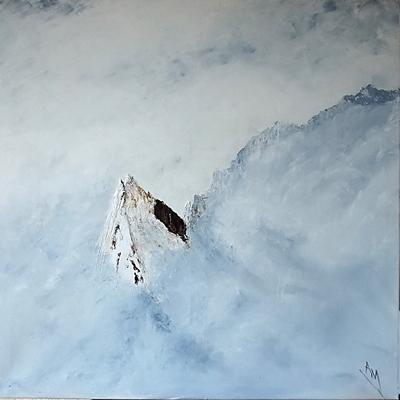 Peintue sommets enneigés
