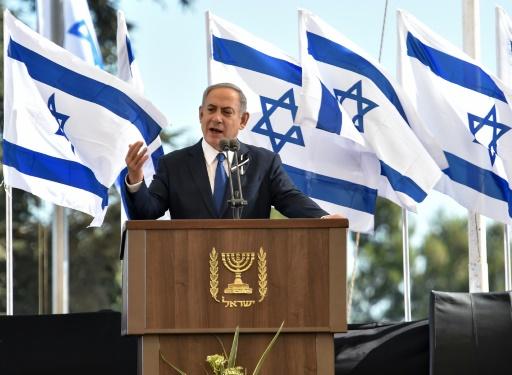Le Premier ministre israélien Benjamin Netanyahu prononce l'hommage funèbre de Shimon Peres le 30 septembre 2016 lors de ses obsèques au cimetière du Mont Eerzl à Jérusalem © NICHOLAS KAMM AFP