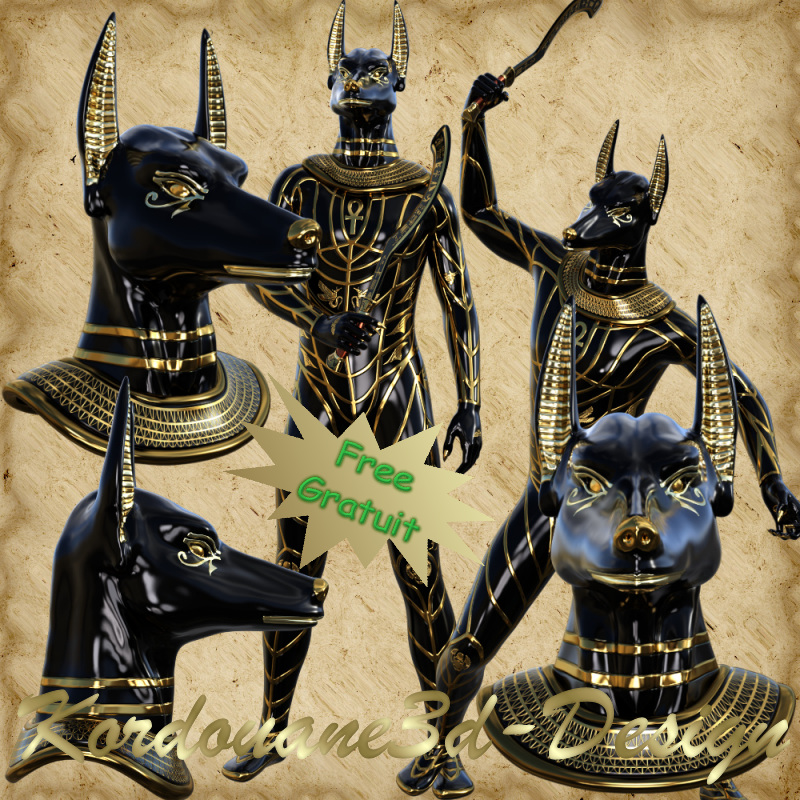Anubis : divinité Egypte antique (tube-poser)