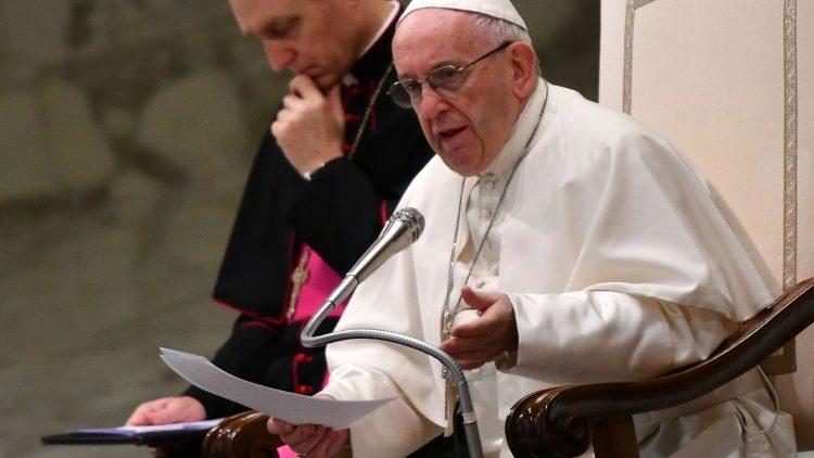 Le Pape François lors de l'audience générale du 3 janvier 2018.