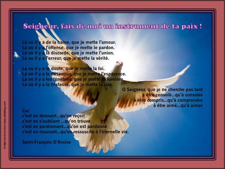 Seigneur, fais de moi l'instrument de ta paix