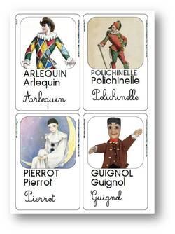Carnaval : rencontre entre Arlequin, Pierrot et Polichinelle