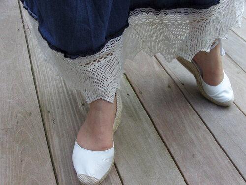 Customisation sur une robe longue en jean
