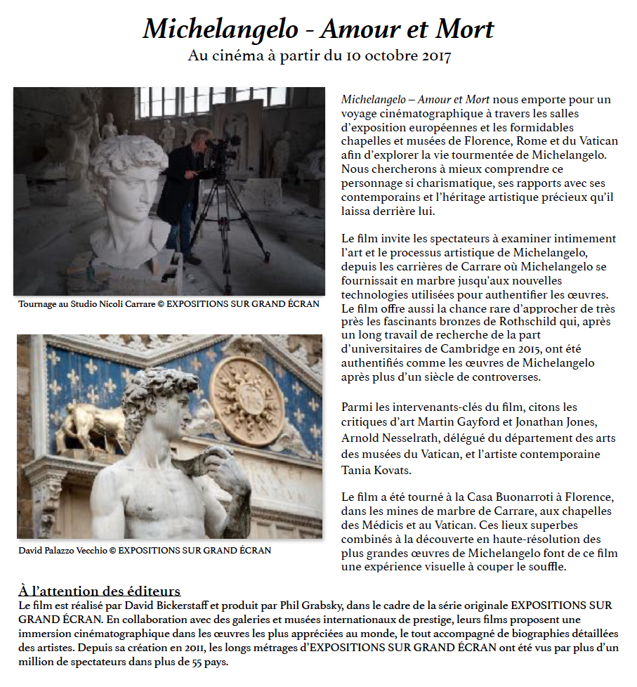MICHELANGELO - Amour et Mort, au cinéma à partir du 10 octobre 2017