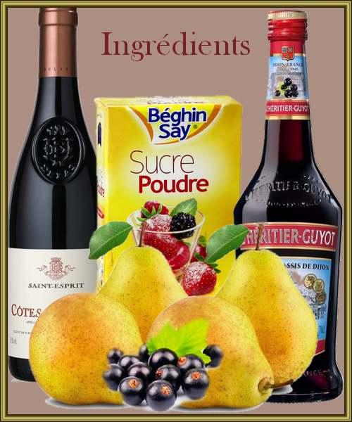 Poires  au vin et à la crème de cassis