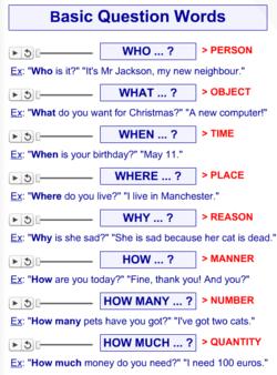 Interrogative words+questions