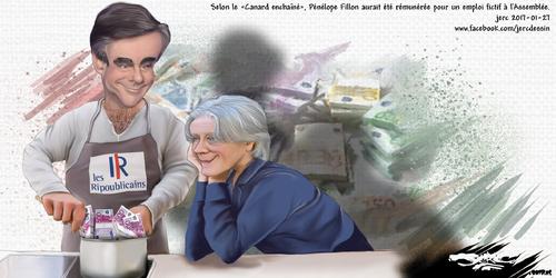 dessin de JERC vendredi 27 janvier 2017 caricature François Fillon et Penelope Fillon Toujours brigand, rassurez vous Toujours les ray-ban toujours filou www.facebook.com/jercdessin