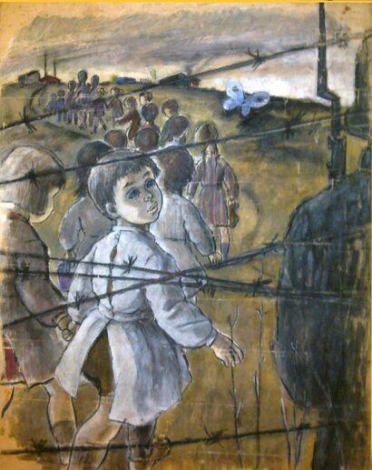 L'enfant Juif papilloniste (dessin de Spiridon Manoliu, 1949. Source : Wikimedia-Commons).