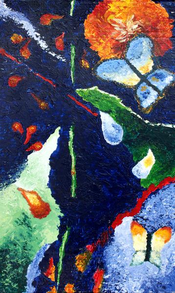 Le papillon et le dahlias - Peinture abstraite