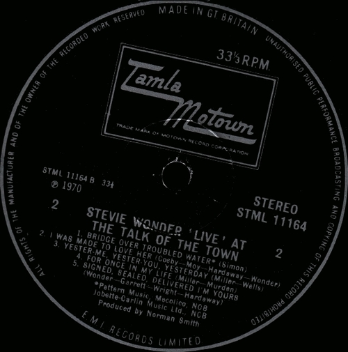"""Stevie Wonder : Album """" Live """" Tamla Records TS 298 [ US ] & """" ' Live ' At The Talk Of The Town """" Tamla Motown Records 11164 [ UK ]"""
