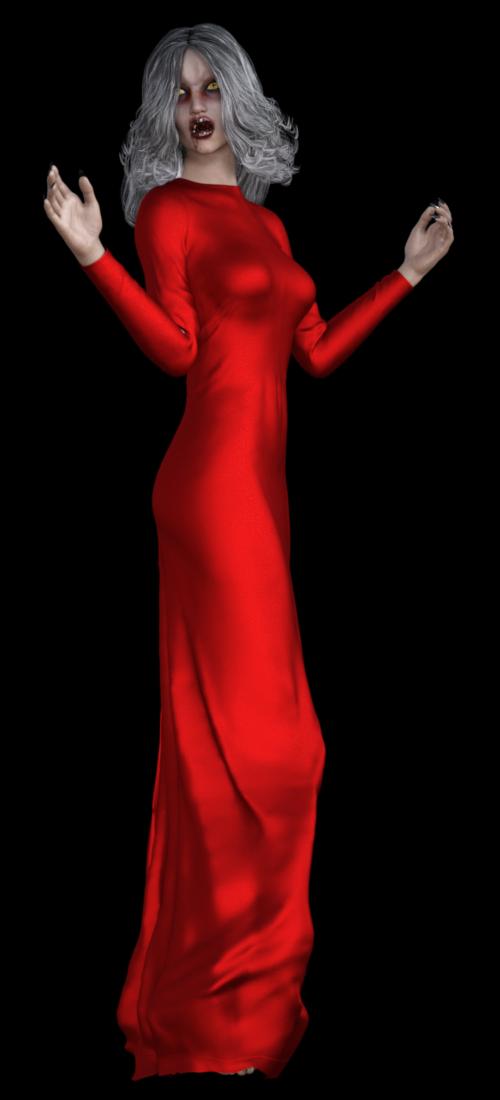 Tube femme vampire robe rouge (png)