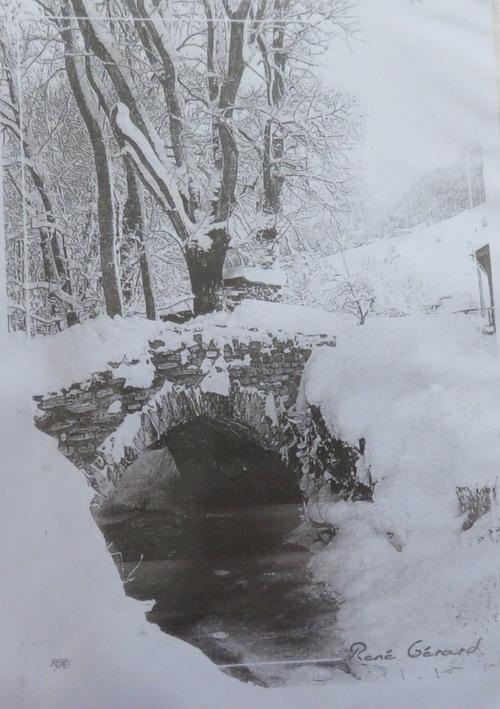 Paysage de neige, aquarelle