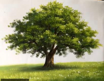 Dessin et peinture - vidéo : Comment peindre un arbre, qui trouve son utilité dans un paysage estival ? - peinture acrylique