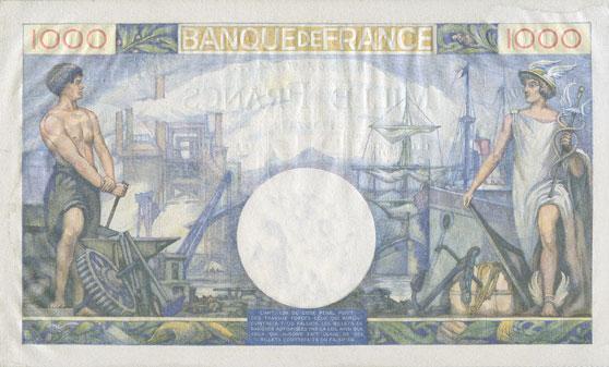 Billets Banque de France. Billet. 1000 francs, Commerce et Industrie, 6.4.1944