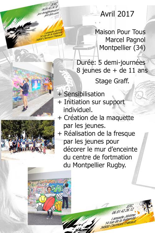 Stage graff Maison Pour Tous Marcel Pagnol Montpellier (34) reflexion, action, valorisation. Decoration mur centre de formation MHRC Avril 2017 plus de photos : http://www.jerc-tbm.com/crbst_5.html