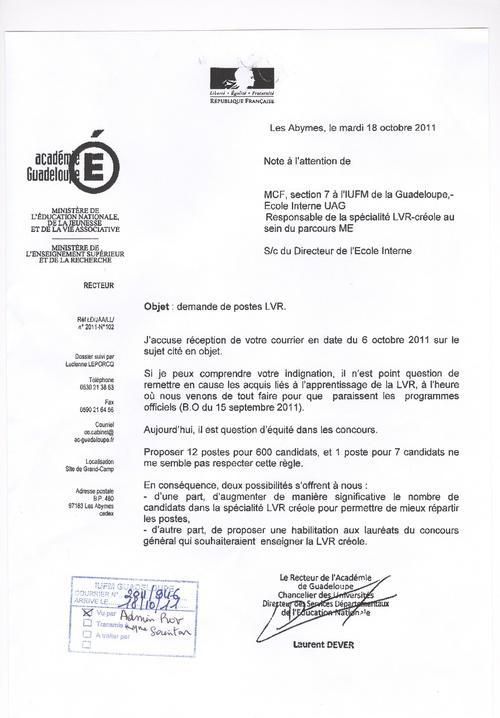 Réponse du Recteur de Guadeloupe