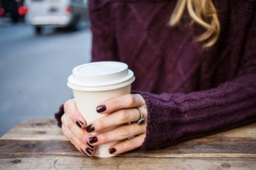purple, love, classy, coffee, chic, ring, cute, cool, sweater, nail polish, girly, wavy, fashion, girl