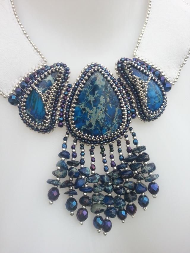 collier jaspe bleu et cuir