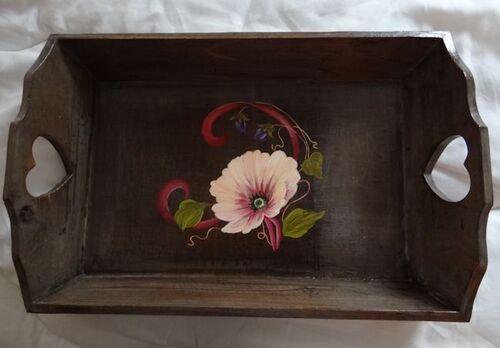 Plateau peint en bois