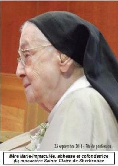 Décès de notre chère Mère Marie-Immaculée - Un grand merci à vous !