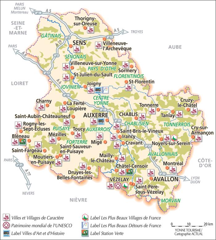 Carte Yonne Touristique.Aillant 89110 Montholon En Bourgogne La Valse Des Points