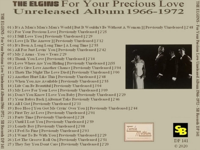 "The Elgins CD "" For Your Precious Love Unreleased Album 1966-1972 "" Soul Bag Records DP 141 [ FR ]"