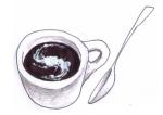 Tasse de café et galaxie